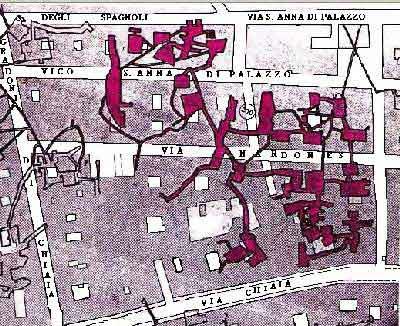 Mappa delle cavità sotterranee tra via Chiaia e Gradoni di Chiaia