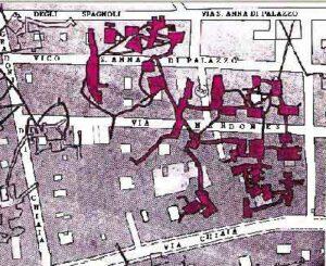 Mappa cavità sotterranee tra via Chiaia e Gradoni di Chiaia